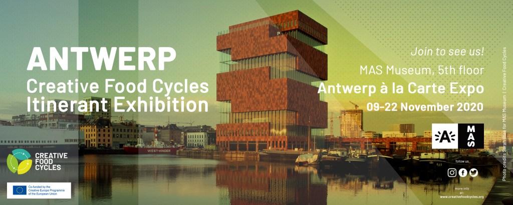 Het MAS gebouw met de aankondigingstekst voor Creative Food Cycles