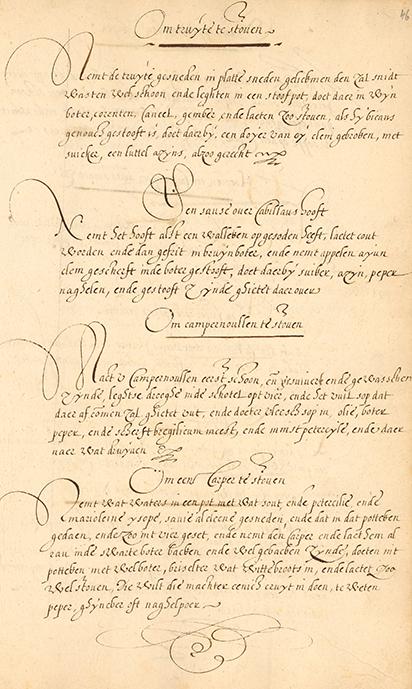 Pagina uit 17e eeuws kookboek