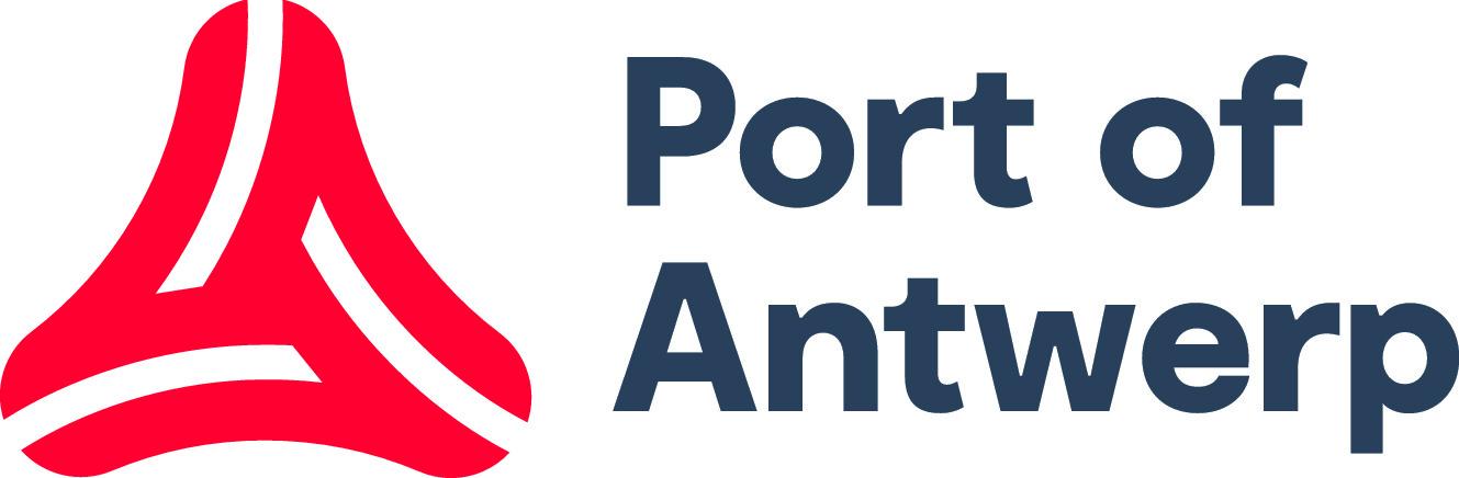 rode gestileerde driehoek met tekst Port of Antwerp