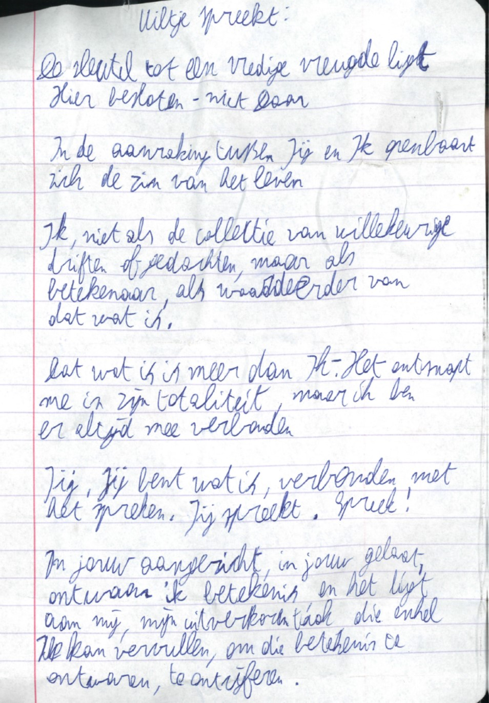 Uiltje spreekt, tekst van Jaap Kruithof in doos 121